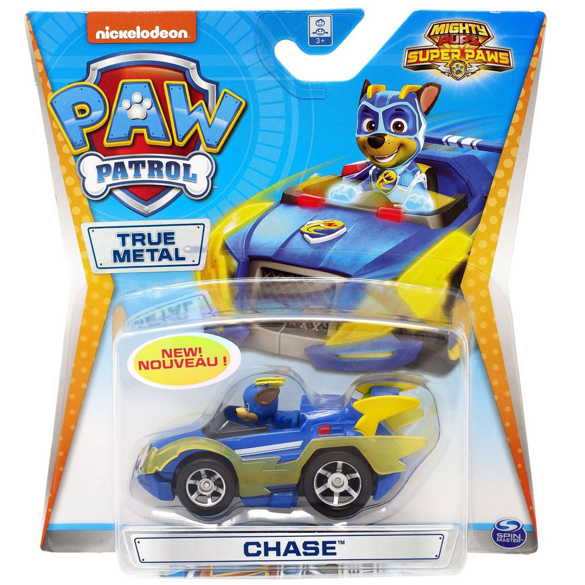PAW Patrol True Metal Die-Cast Vehicle - Chase (Mighty Pups Super PAWS)