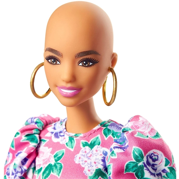 Barbie Fashionistas Doll - #150 No Hair Look with Pink Floral Dress