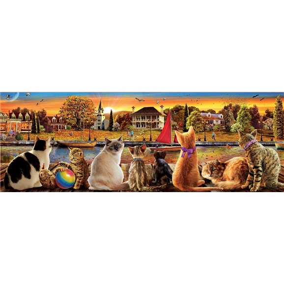 Educa Borras - Cats on the Quay 1000 Piece Panorama Jigsaw Puzzle